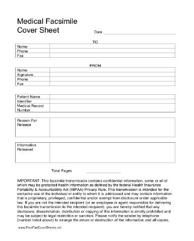 Medical HIPAA Fax Cover Sheet at FreeFaxCoverSheets.net