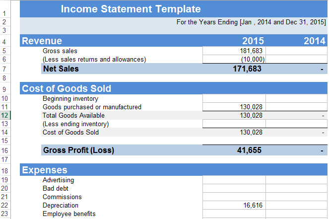 Income statement example excel template in compliant yet format of