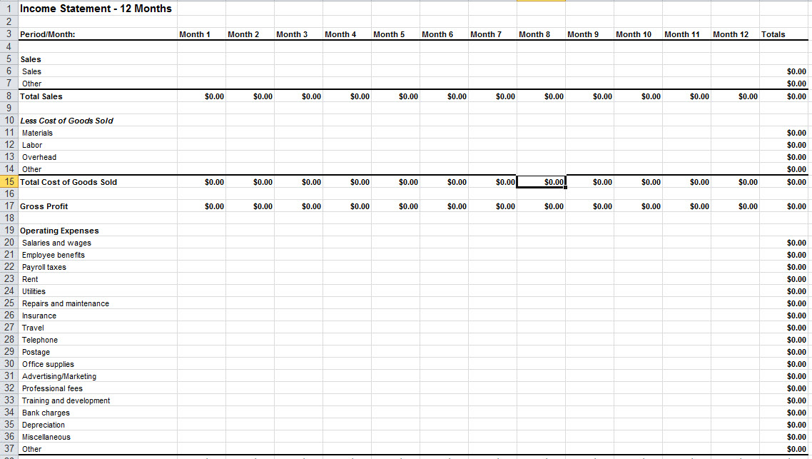 Income Statement Template Excel Income Statement Template For