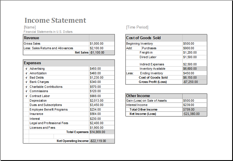 Income statement template excel practicable for – monoday.info
