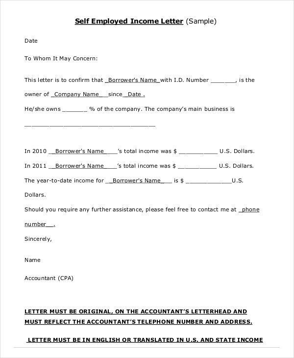 Cover Letter Self Employed Employment Letters 40 Proof Of Ideas Of
