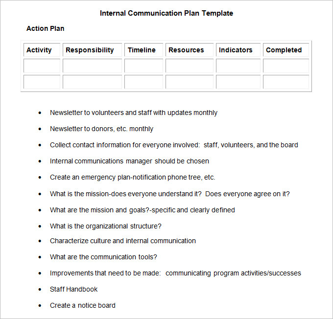 Internal Communication Plan Template   3 Fee Word, PDF Documents