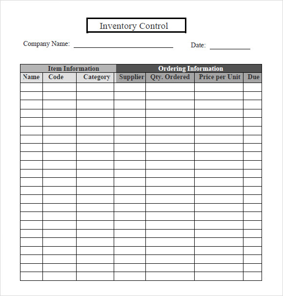 free inventory tracking control template spreadsheet