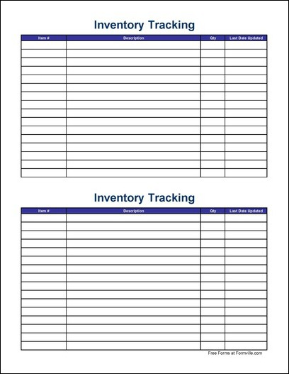 Free Small Simple Inventory Tracking Sheet (Wide) from Formville