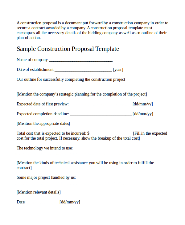 Printable Blank Bid Proposal Forms | Printable Quote Template