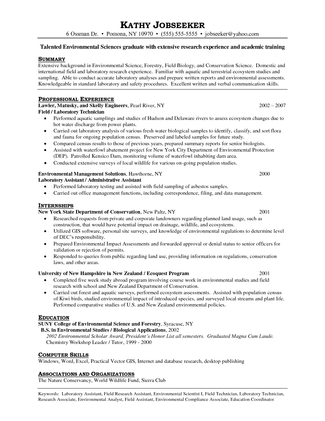 Free Entry Level Lab Technician Resume Templates | ResumeNow