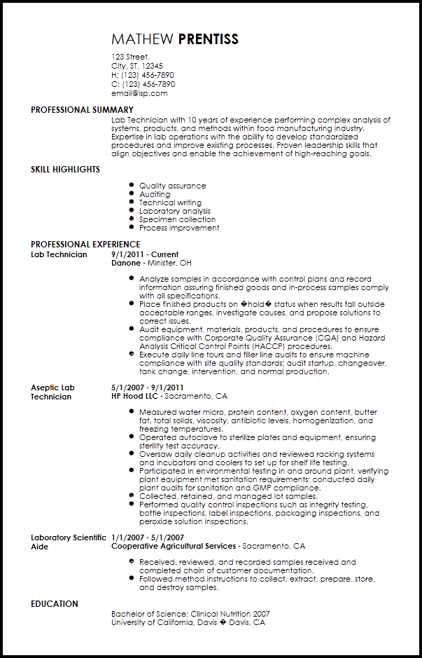 Lab Technician Resume Template   7+ Free Word, PDF Document