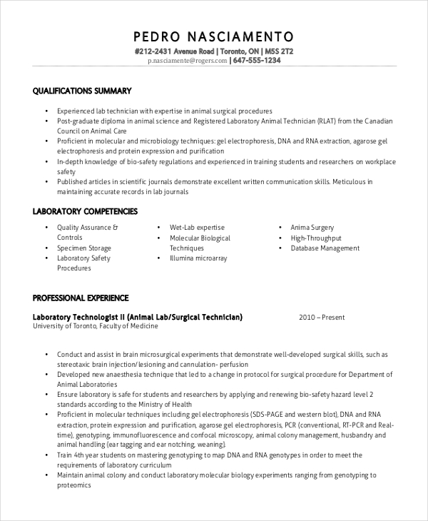 Free Professional Lab Technician Resume Template | ResumeNow