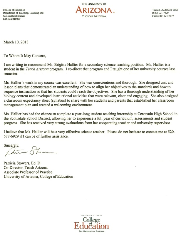 letter of recommendation for masters program