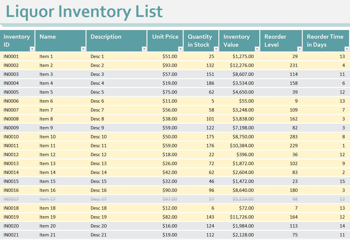 Liquor Inventory Sheet | Liquor Inventory Spreadsheet