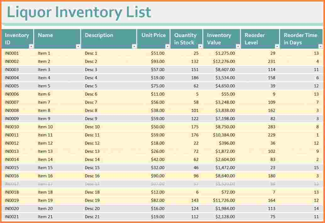 6+ liquor inventory spreadsheet | Excel Spreadsheets Group