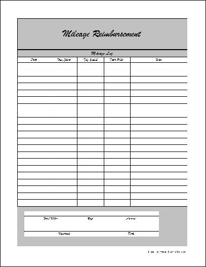 Gas Mileage Reimbursement Template