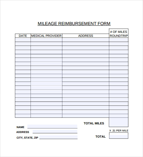 Mileage Reimbursement Form   9+ Free Sample, Example, Format