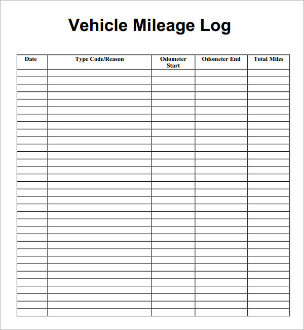 30 Printable Mileage Log Templates (Free)   Template Lab