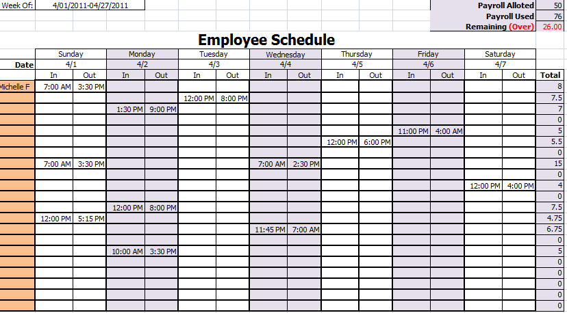 employee work schedule template monthly   Manqal.hellenes.co