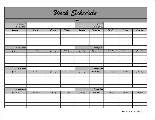 Monthly Employee Schedule Template Mws009 Portray Graceful Work