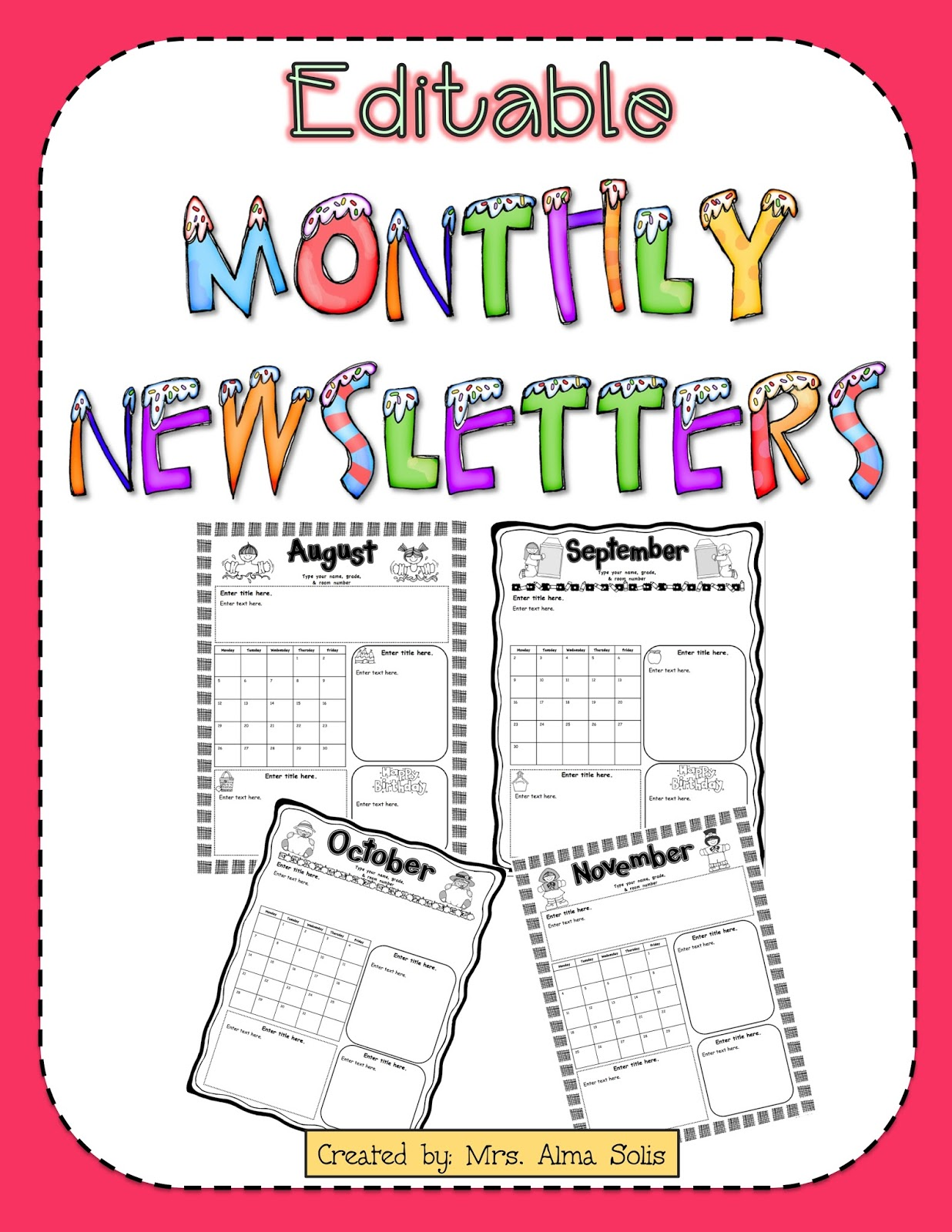 Monthly Newsletter Template For Teachers Free Free Printable