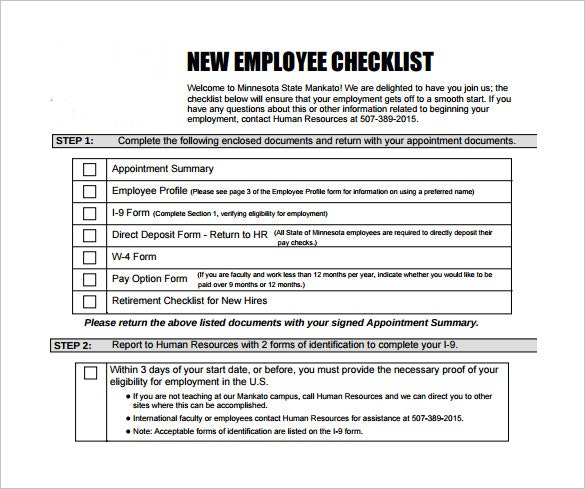New Hire Checklist Templates – 16+ Free Word, Excel, PDF Documents