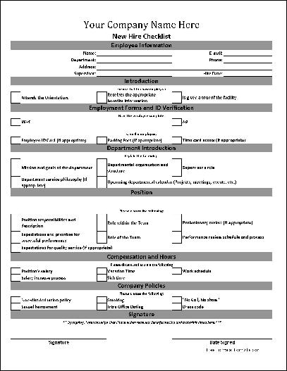 new hire paperwork checklist template   Manqal.hellenes.co