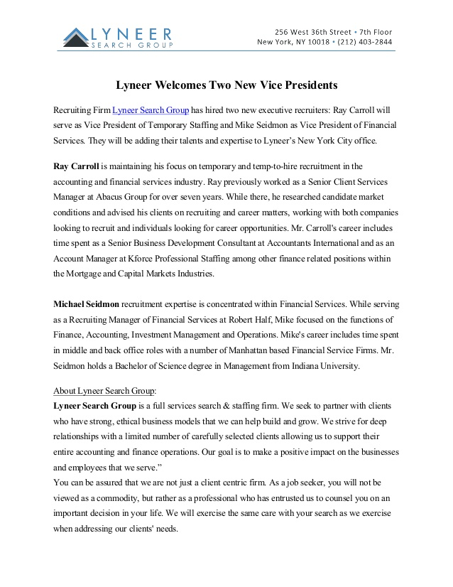 New Hires Press Release