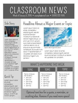 3 Free NEWSLETTER TEMPLATES   EDITABLE   | class news | Pinterest