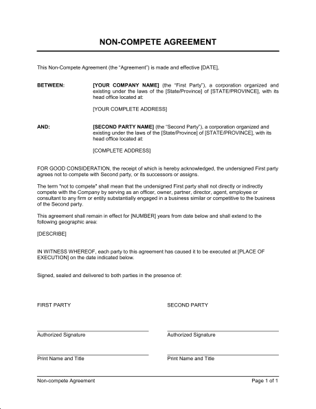 General Non Compete Agreement   Template & Sample Form | Biztree