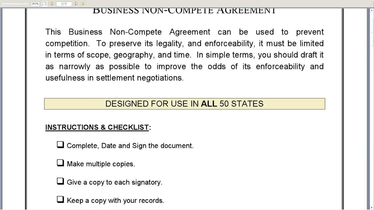 Agreement: Non Compete Agreement Form