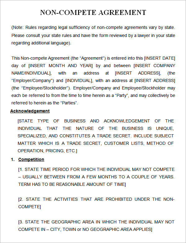 Non Compete Agreement Template Free Download   Schreibercrimewatch.org