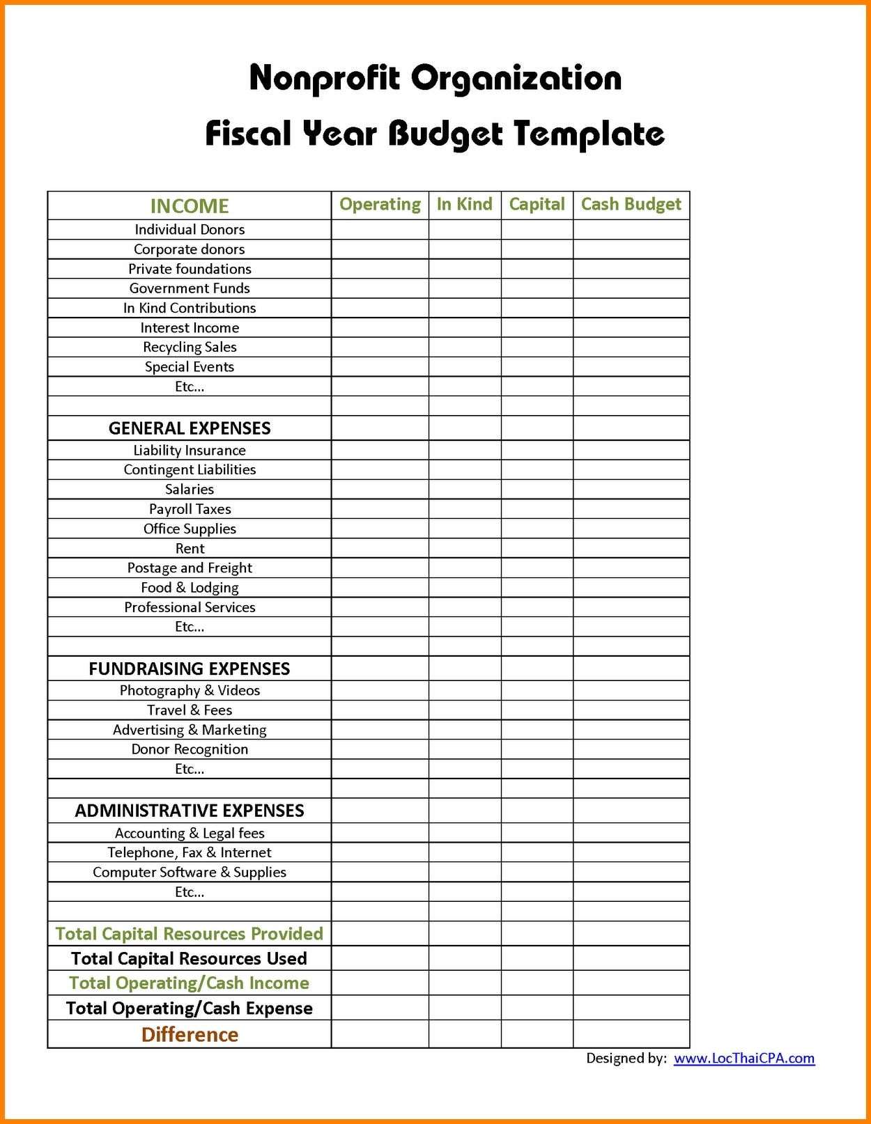 Nonprofit budget template issue see 9 non profit regarding