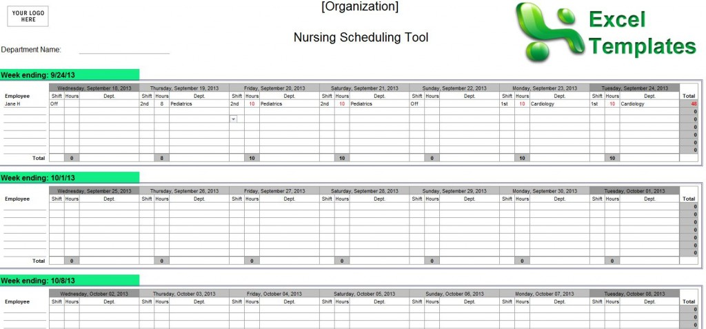 Examples of Nurse Staffing Schedules | Nursing Schedules