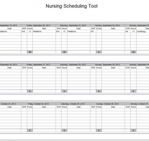 Hospital Nurse Schedule Excel Template | Nurse Schedule Template