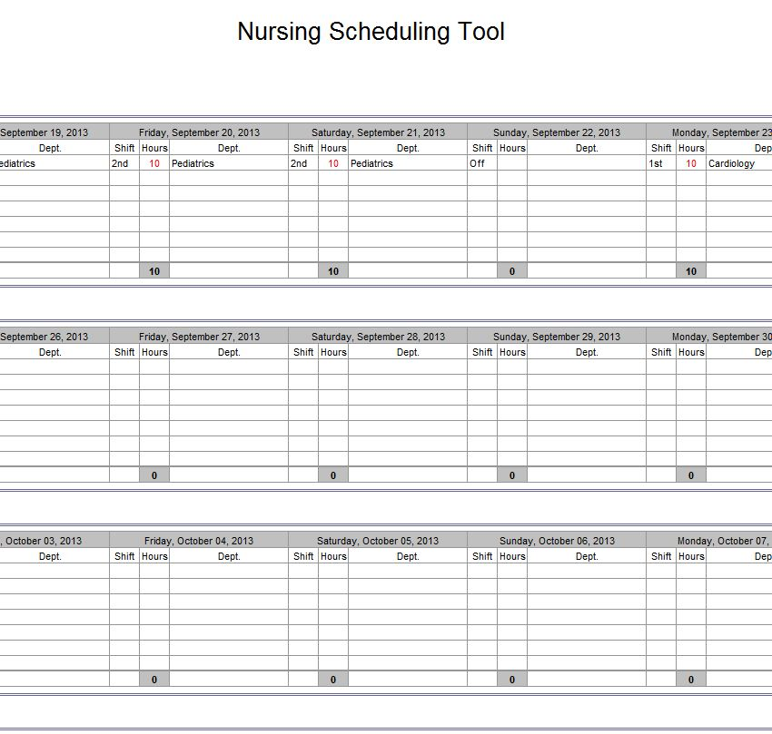 nurse schedule template   Physic.minimalistics.co