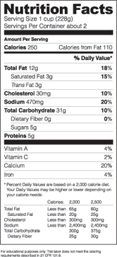 Nutrition facts vector label ~ Graphic Objects ~ Creative Market