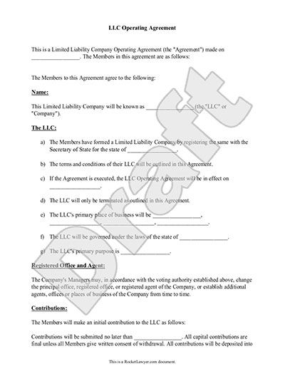 LLC Operating Agreement   Sample & Template   llc partnership