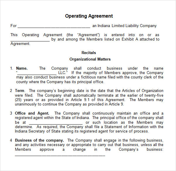 business operating agreement template operating agreement template