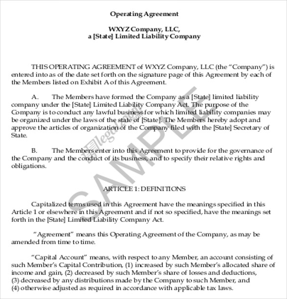 free llc operating agreement template 11 operating agreement