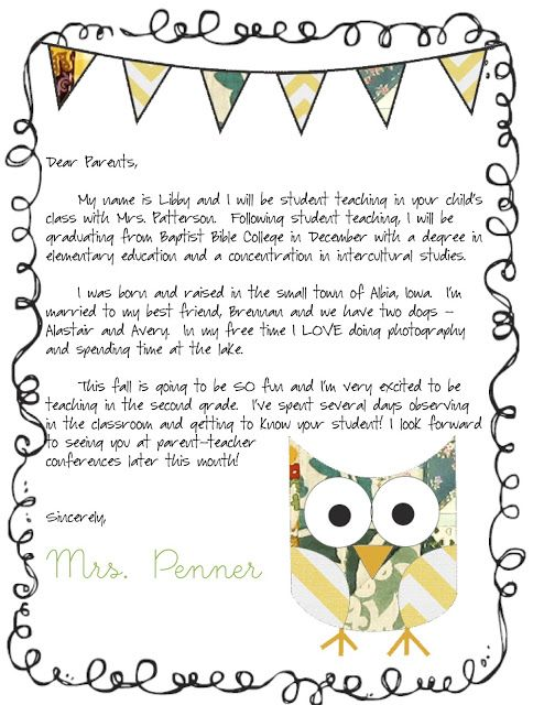 student teacher letter to parents template   Roho.4senses.co