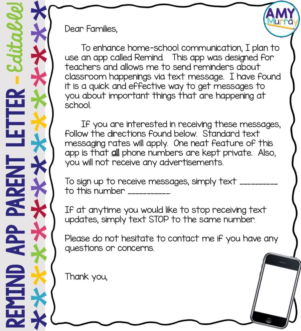 Remind App Parent Letter Editable Template | Letter templates