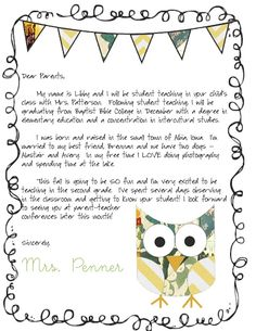 Letter from Teacher to Parents editable | Initials, Parents and
