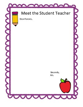 Student Teacher Parent Letter Template by MsFrank2017 | TpT