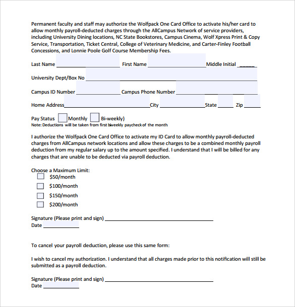 payroll deduction form template payroll deduction authorization