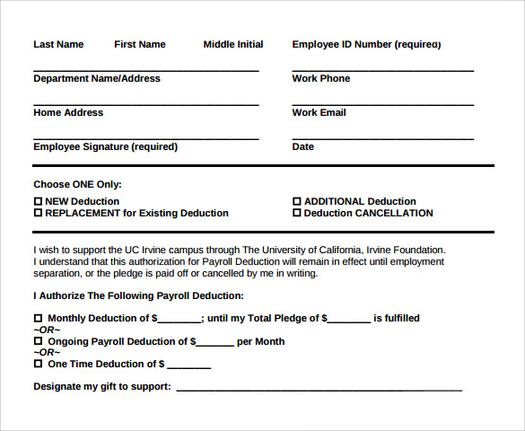 template for payroll deductions