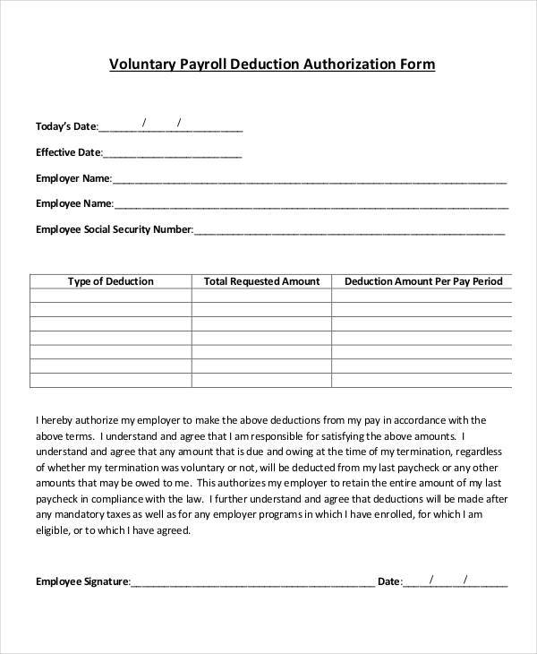 payroll agreement template employee payroll deduction form