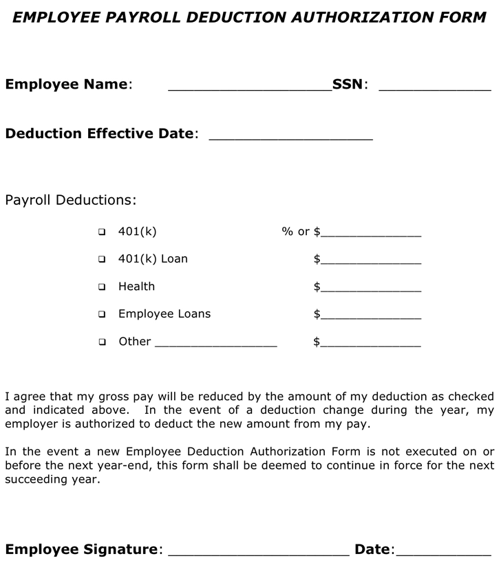 Payroll Deduction Form Templates   Fillable & Printable Samples