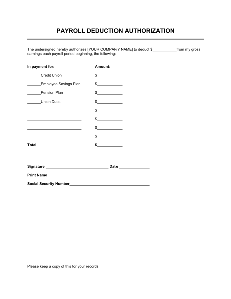 5+ payroll deduction forms | Samples Of Paystubs