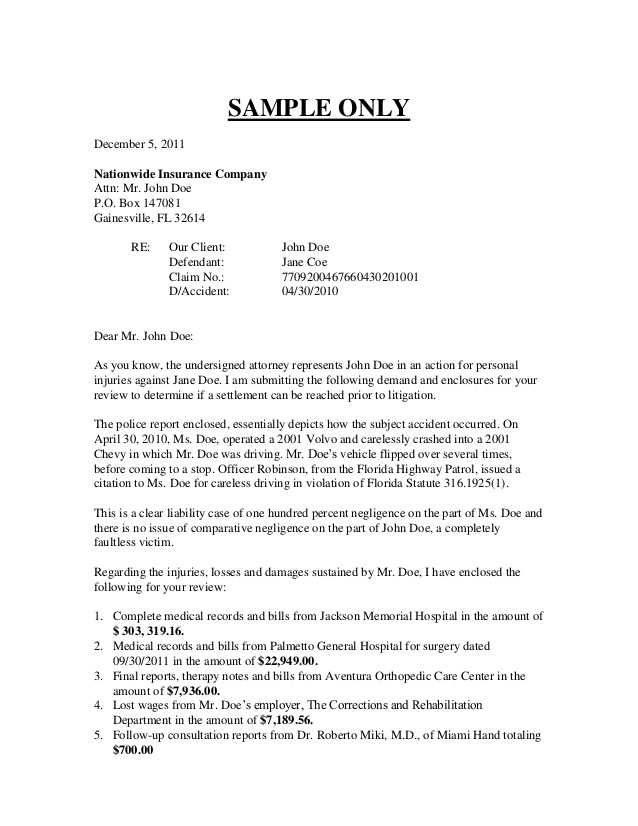 Sample Demand Letter Personal Injury   letter of recommendation