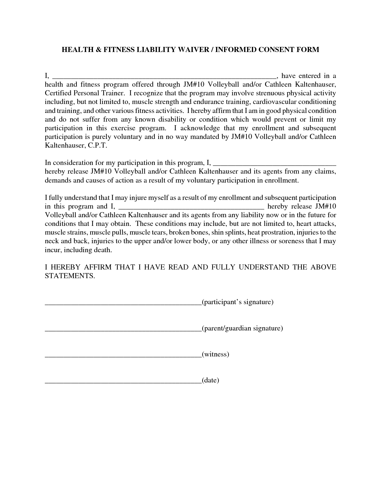 personal injury waiver form The Story Of Personal Injury