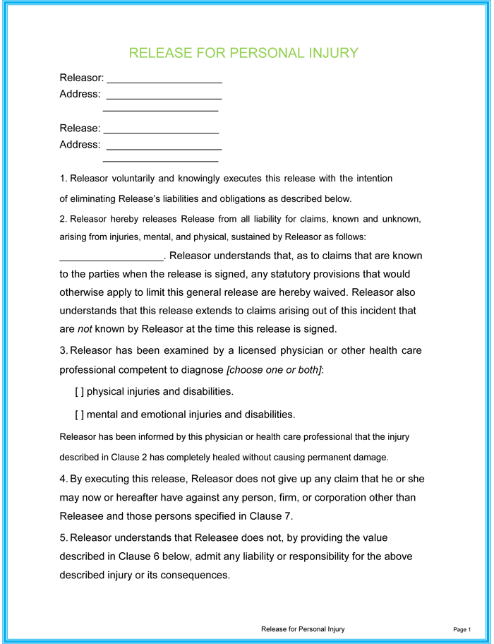 Personal Injury Waiver Form Templates   Fillable & Printable