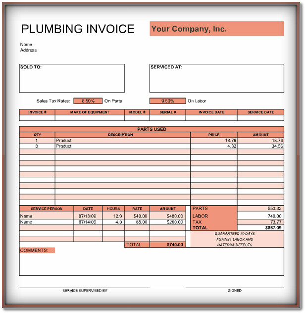 plumbing invoice template word   Roho.4senses.co