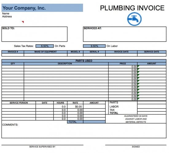 Free Plumbing Invoice Template | Excel | PDF | Word (.doc)
